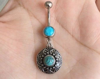 Turquoise Boho Belly Ring. Silver Belly Button Ring.