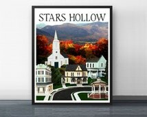 STARS HOLLOW 4 - gilmore girls - art print - rory - stars hollow - coffee - dragonfly - yale - connecticut - mother - daughter - carole king