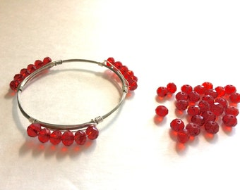 6mm Red Glass Crystals - Set of 18 Beads for Wire Bangle Bracelet - Faceted Beads jewelry making Tassel personalized necklaces