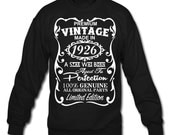 90th Birthday Gift Ideas for Men - Unique Sweatshirt - Made in 1926 Pullover Gift - Memorable Sweatshirt - Birthday Gifts for Him