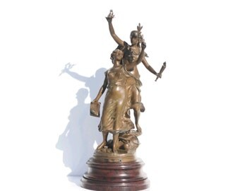 Antique French Bronzed Spelter girls, Art Nouveau Heroic  Statues signed,Henrie