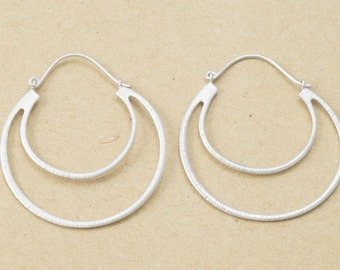 Crescent Hook Earring Component, Jewelry Craft Supplies, Matte Rhodium Plated over Brass - 2 Pieces-[GH0005]-MR