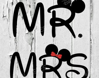 Mr. Mickey Mouse and Mrs. Minnie Mouse clip art Digital image Iron on transfer INSTANT DOWNLOAD DIY for Shirt