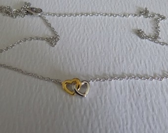 SUMMER SALE Sterling silver entwined hearts with gold plating on one heart necklace compatible with european charms