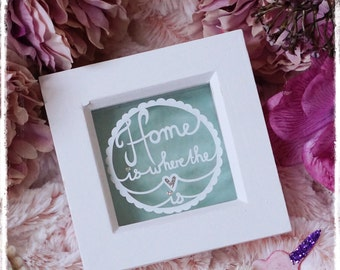Home is where the Heart is - New Home Gift - Miniature Paper Cut