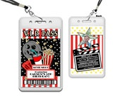 VIP Movie Night Invitations - Movie Birthday Party Invitation Lanyard - Kids Movie Party - Child Movie Night - Stars - Popcorn Invite Photo