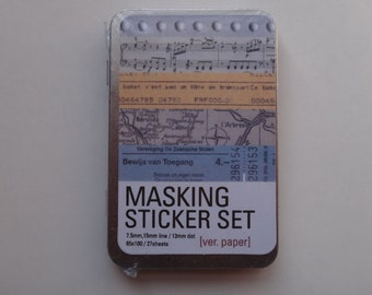 27 Sheets Masking Sticker set VER.PAPER With Tin Box