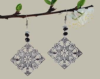 Birthday gift jewelry, black tourmaline earrings, october birthstone jewelry, women gift handmade earrings, libra birthstone earrings, scy