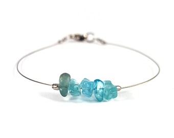 Dainty bracelet, blue apatite jewelry, silver bracelet, crystal jewelry silver, thin bracelet, apatite bracelet blue crystal bracelet shikky