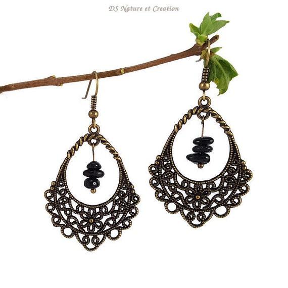 Black Stone Earrings: Gemstone Dangle Earrings Black Tourmaline Jewelry Natural