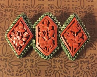 Antique Chinese Cinnabar Pin