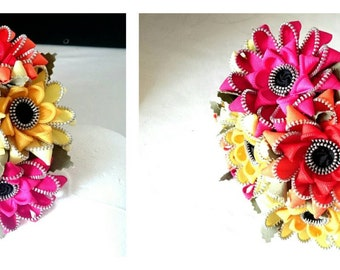 Handcrafted Zipper Gerbera bridal bouquet - keepsake zip flowers - custom colours