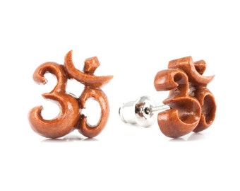 "Hand Carved - ""Om"" - Wood Stud Earring - Urban Star Originals"