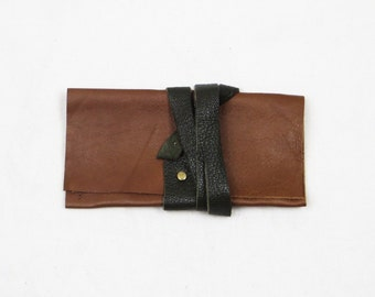Cognac brown iPod Touch sleeve with wrap around tie in dark khaki green