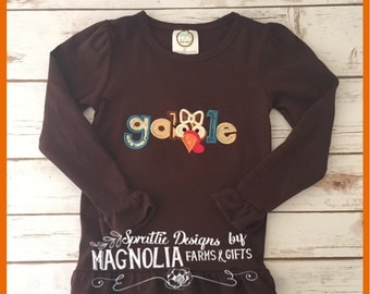 Girly Gooble Thanksgiving Long Sleeve T-Shirt