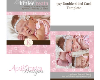 Baby Girl Birth Announcement Digital Template-5x7 flat, double-sided card