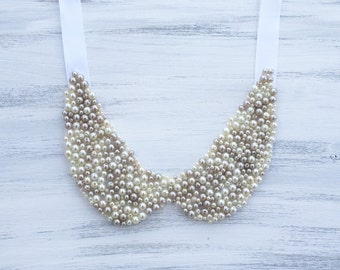 Embellished Pearl Peter Pan Collar Necklace