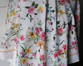 Vintage floral white scarf