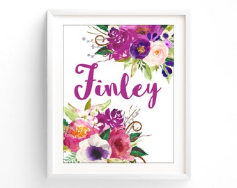 Floral Custom name, Monogram, Nursery Printable, Floral calligraphy 8 x 10 print art, girls