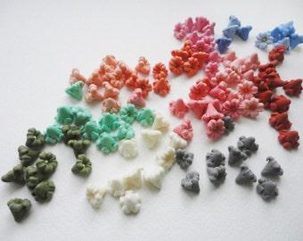 10 TINY FLOWER, cold porcelain flower, flower cabochon, clay tiny flower, jewelry flower, spring flower, autumn flower, handmade tiny flower