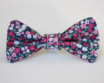 Navy and Pink Floral Dog Bow Tie