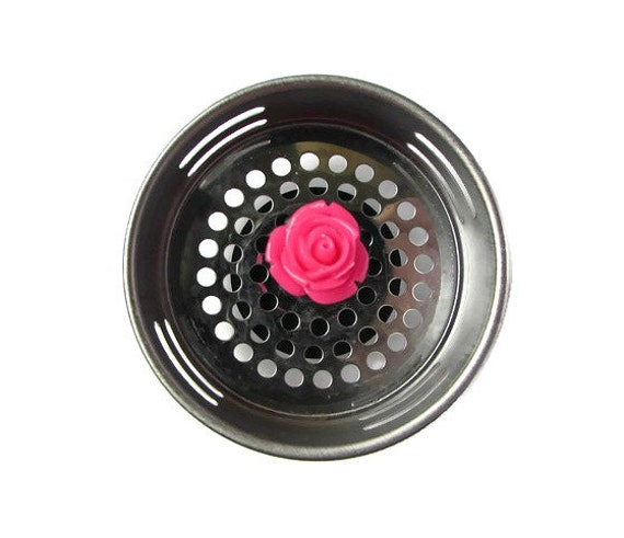 Sink strainer hot pink decor rose decor kitchen decor - Decorative kitchen sink strainers ...
