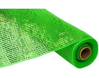 21 inch Lime Green Wide Foil Deco Poly Mesh, Lime Wide Foil Deco Mesh, Green Metallic Deco Mesh  (10 yards) - RE104150