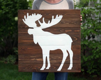 24x24 Painted Wood Sign -Wall Art - Moose Silhouette