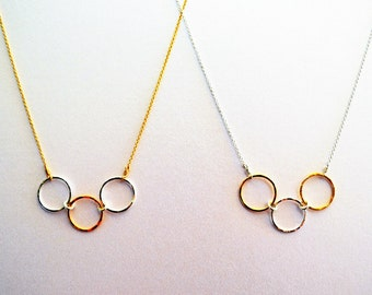 Two-tone triple circle necklace- sterling silver and gold-filled- handmade, 18 inches- custom lengths available to order