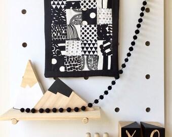 Mini Dolls Cot Garland Black 1cm Wool Felt Balls Nursery Monochrome Bunting Pom Pom