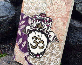 Mixed Paper Hamsa Canvas