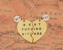 Gold Best Fucking Bitches necklace,bestfriends necklace,personalized friendship necklace,Sisters necklace,broken heart necklace