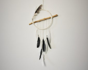 Unique dream catcher. Gift idea. Black and white dreamcatcher.