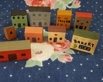 Handpainted Miniature Wood Block Village