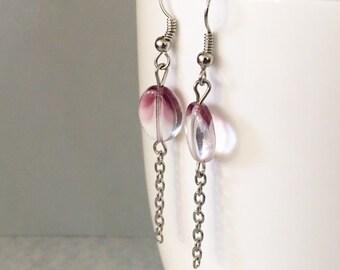 Purple dangle earrings, purple drop earrings, purple earrings, purple bead earrings, purple beaded earrings, beaded earrings