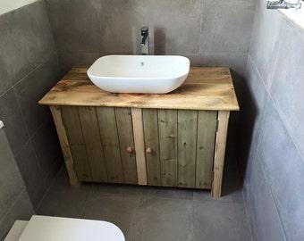 rustic wooden vanity unit 100 cm wide