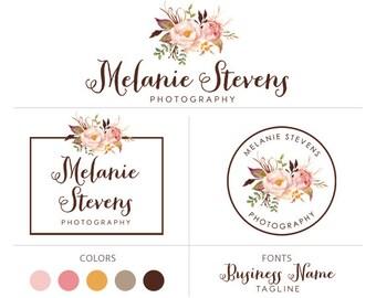 Branding set photography logo watercolor logo flower logo boutique logo floral design logo photographer logo premade logo package