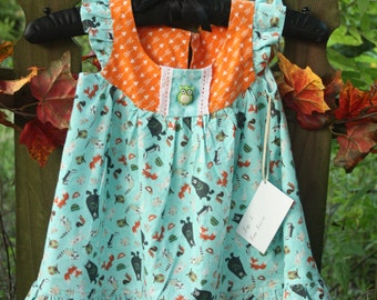 Girl's ruffled dress,forest creatures print,size 2