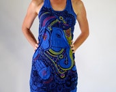 Women's Dress Blue Painted Ganesh Preshrunk Comfy Cotton Racer back Tank Dress Tribal Lokazu Gypsies Festival Casual Cover up Comfort Wear