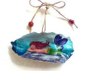Mermaid ornament, red hair mermaid, gift
