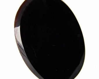 Vintage jet glass flat oval cabochon with beveled edge France 1920s, 30x24X2.5mm pkg of 1. b5-728(e)