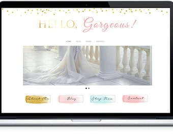 Responsive Wordpress Theme , WordPress themes , MOBILE Wordpress Template,Hello Gorgeous Blog Theme, Photography website,Feminine template