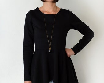 Peplum top/ long sleeve black peplum blouse.