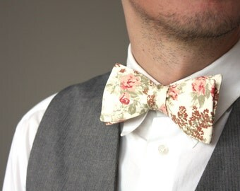 Mens Bow tie Flower floral bow tie 100% Cotton men's self tied Bow Tie Boom Bow Handmade C142