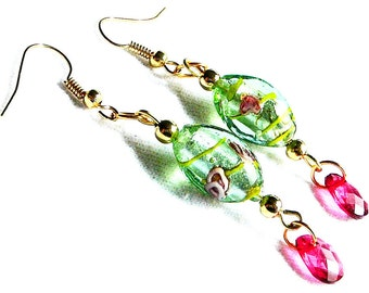 Pink and Green Floral Beaded Earrings