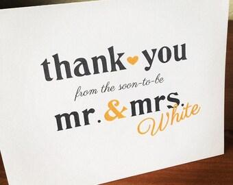 Mr. & Mrs. Wedding Thank You Card - Printable File