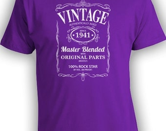 Vintage Whiskey Label Birthday Shirt Born 1941 - Celebrating 75th Birthday, Gifts for Him, Gifts for Grandpa, Gifts for Dad Bourbon CT-1030
