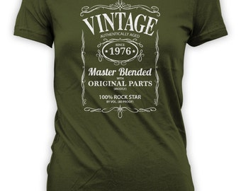 Vintage Whiskey Label Birthday Shirt Born 1976 - Celebrating 40th Birthday, Gifts for Him, Gifts for Grandpa, Gifts for Dad Bourbon CT-1065