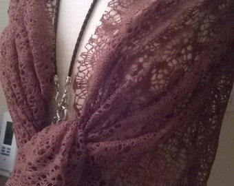 Stole wedding in Brown crocheted fabric