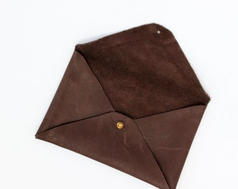 Small Leather Clutch Bag - Handmade in England - Taupe